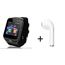 SIRI - DZ09 Smart Watch For Iphone/IOS - Black + HBQ I7 mini Bluetooth E3 4.1 stereo single ear Bluetooth headset