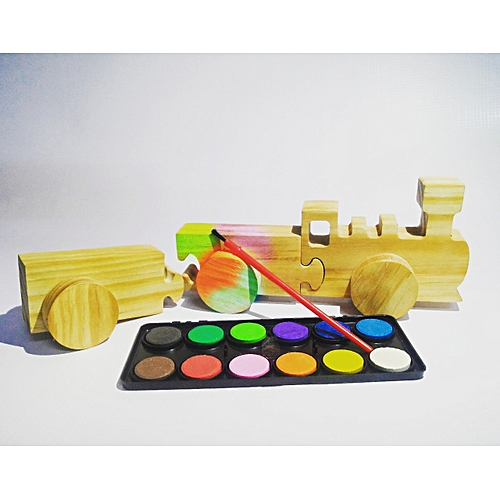 buy generic wooden kids toy train and water paints best price