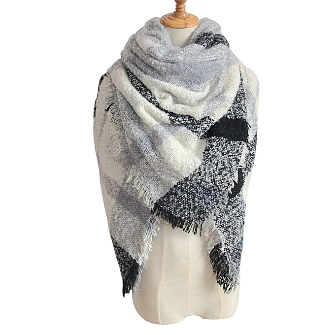 bbda1a19d5e Womens Tartan Plaid Square Blanket Scarf Large Checked Wrap Shawl Winter  Warm E