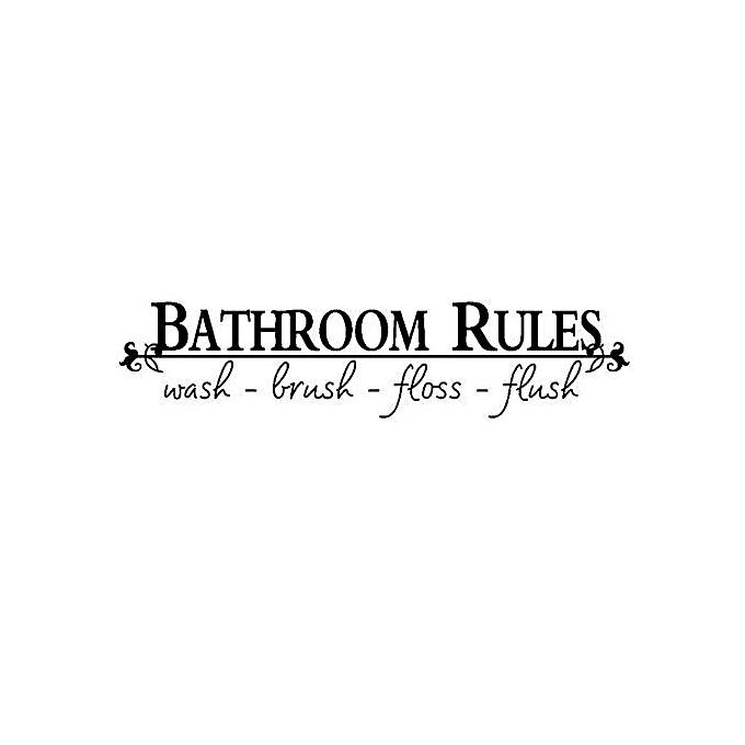 Eleganya Bathroom Rules Home Decoration Quote Black Vinyl Sticker Toilet Art Wall Decal Decor De Parede