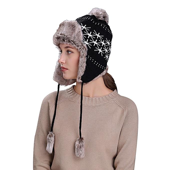 singedanWarm Women Winter Hat with Ear Flaps Snow Ski Thick Knit Wool  Beanie Cap Hat - 3cf38b142b6