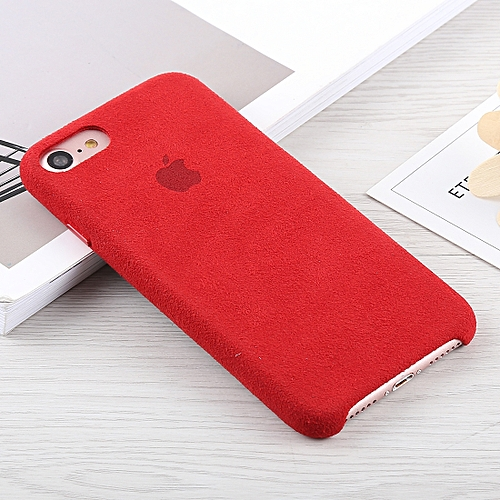 official photos 91bcb 262f0 Alcantara + PC Suede Protective Back Cover Case for iPhone 8 & 7(Red)
