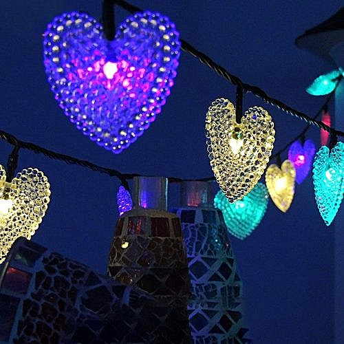 Solar Christmas Decorations.Solar Light String 20led Heart Shape Modeling Lanterns Christmas Decorations String Lights Outdoor Waterproof Colorful