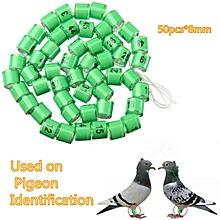 50pcs*8mm Green Racing Pigeon Birds Supplies Utensils Foot Ring With Number 1-50