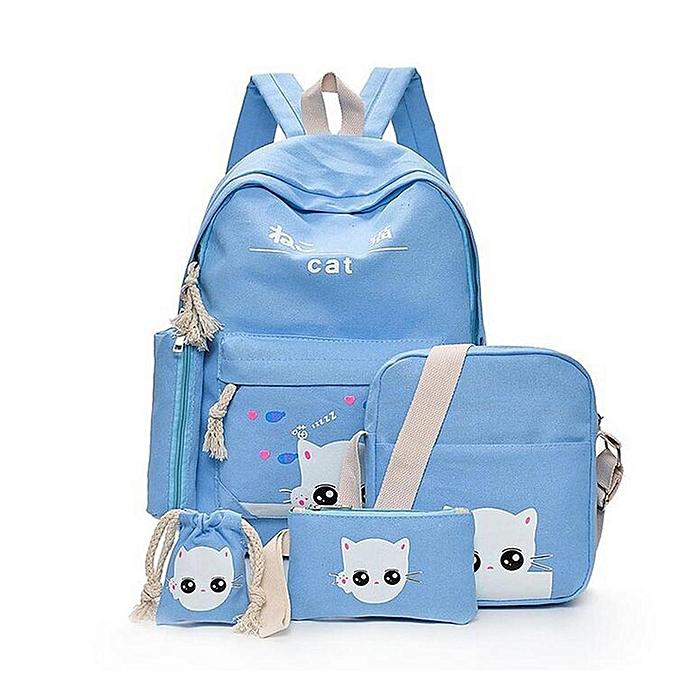 13fe0d3afb4 Fashion 5Pcs Women Backpack Girl School Bookbag Shoulder Bag Rucksack  Travel Bag 4 Set Kids Canvas Backpack For Student Cute Elephant School Bag  ...
