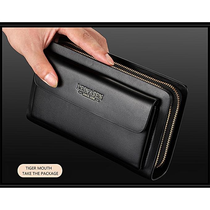 8396a930d5c0 LEINASEN Brand Men Wallets with coin pocket zipper Double Zipper Male  Wallet long Large Men Purse coin clutch bag black Business