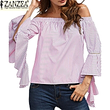 Slash Neck Off Shoulder Flare Sleeve Flouncing Stripe Shirt Womens Fashion Casual Party Beach Summer Tops Blouse (Pink)
