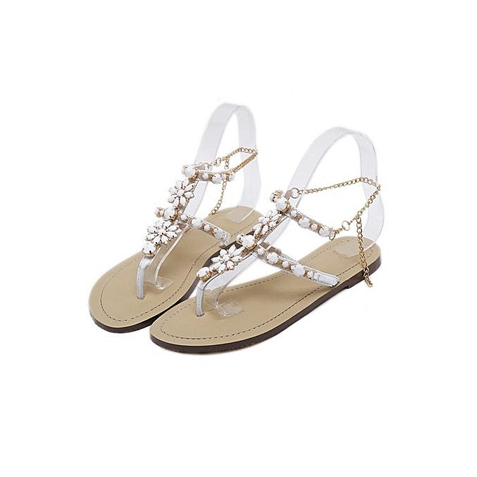 33bd4d0f0f63 Women s Sandals Women s Shoes Rhinestone Chain Thong Gladiator Flat Sandals  Crystal Shoes - White