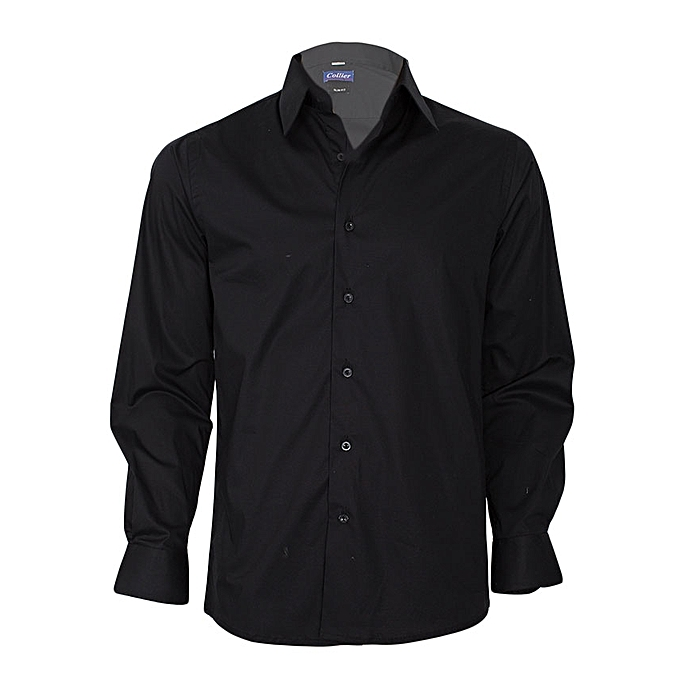 5859764e43d Collier Black Long Sleeved Slim Fit Shirt   Best Price