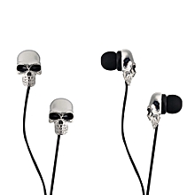Cool Skull Heads 3.5mm Port Earphones Earbuds Headset For MP3 Phone iPads Silver