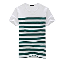 Singedan Shop Men's Fashion Casual Stripe Printed Short Sleeve T-shirt Pullover Top Blouse Tee