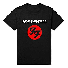Popular New Fashion Foo Fighters Hard Rock And Roll Band T Shirts Ff Letters Printed Dave Grohl Guitarist T-shirt Top Tees Mens Fashion Casual T-shirt Round Neck Short Sleeves T Shirt Cool Tops Clothing Youth
