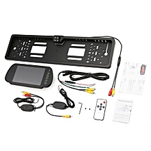 "OR EU Car Licence Plate Camera+ 7 Rearview Monitor+Wireless Transmitter Receiver"" Black"