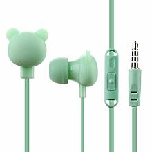 Colorful Cartoon Cute Earphone Studio Button Remote Bear ForBirthday Gift Green