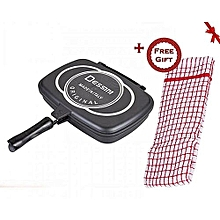 Aluminum Two-Sided Double Grill Non-stick Pressure Pan 36cm - Black + a Free Gift Hand Towel