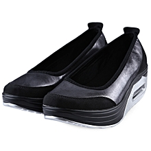 Slip On Ladies Platform Shoes - Bright Black