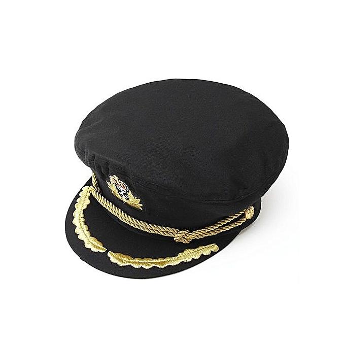 e764ff5b8d7 ... Unisex Men Deluxe Sailor Hat Officer Stag Night Nautical Fancy Dress  Captain Cap Black