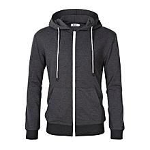 MrWonder Men's Casual Lightweight Long Sleeve Zip Up Hoodie Sweatshirt With Kangaroo Pocket Color:Dark Grey Size:S