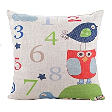 Unisex Cute Numbers Square Linen Pillow - White