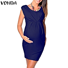91abb4fa80697 VONDA Maternity Paregnant Women Sleeveless High Waist Bodycon Stretch  Pencil Dress