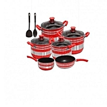 Cooking Pots  Non Stick 10pieces and 2 spoons- Red and Silver