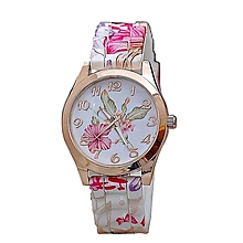 Women Girl Watch Silicone Printed Flower Causal Quartz WristWatches PK