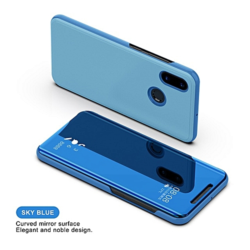 hot sale online 73d31 2e928 for Redmi 4X phone case Flip Mirror Case For Xiaomi RedRmi Cover For Plus  Pocophone phonecase-Blue
