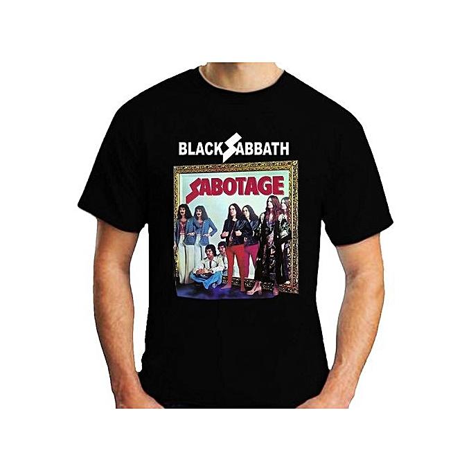 b723287de6912 Custom Funny Mens T Shirt Black Sabbath Sabotage T-Shirt Short Sleeve  Summer Men s T