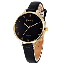 Lightning Women Casual Checkers Faux Leather Quartz Analog Wrist Watch-Black