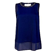Royal Blue Plus Size Chiffon Top with Beaded Collar Detail.