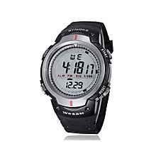Waterproof Outdoor Sports Men Digital LED Quartz Alarm Wrist Watch- Grey