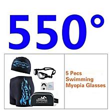 Men's 5 Pecs Myopia Goggles + Cap + Earplugs + Nose Clips + Bag + Swimming Pant(Size:550°)
