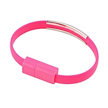 Wristband Micro USB Cable Bracelet Data Charging Line For Cellphone Android Rose Red