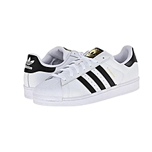 Men's Superstar Foundation Fashion Sneaker, White/Collegiate Navy/Metallic/Gold, 8.5 M US