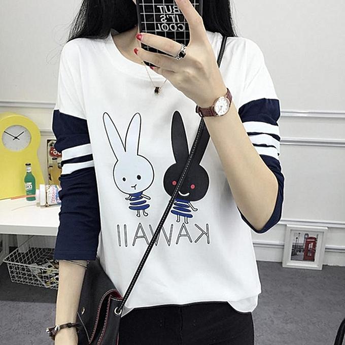White Women T-shirt Autumn Long Sleeve T Shirt Kawaii Korean Fashion Girl  Tshirt Spring 2cd9539492d