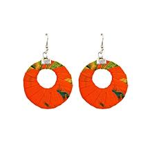 Orange Circular Wide(Medium) Earrings