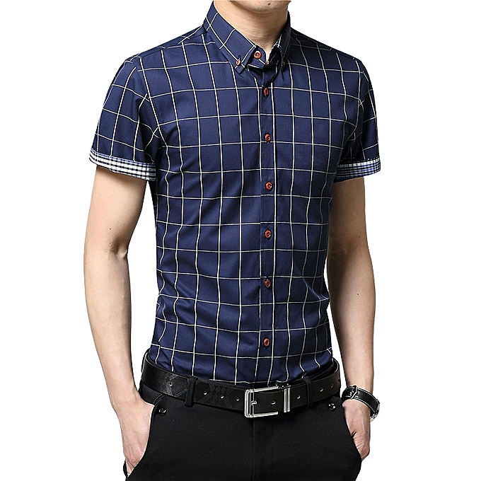 ed94bf2f7bd0 2019 Men s Short Sleeve Shirt Summer Business Formal Casual Plaid Checked  Top T Shirts-Dark