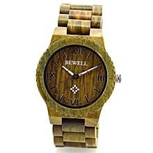 Men's Natural Woodenen Wristwatch Wooden Quartz Watch  + Box Green-Green