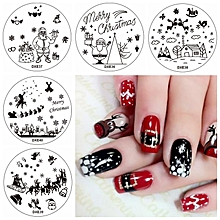5pcs Cute Christmas Tree Nail Image Stamps Set Snowflake Template Snowman Cloud Santa Claus Manicure