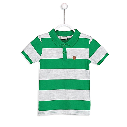 Green Fashionable Striped Regular Polo T-Shirt
