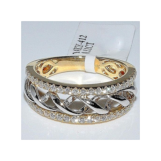 369e30b72 Exquisite Womens Ladies 925 Sterling Silver 18K Yellow Gold Two Tone  Twisted Diamond Ring Anniversary Gift