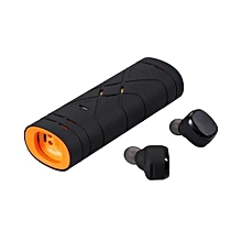 Wireless Earbuds, Dual Noise Cancelling Bluetooth Earphones with Lightweight Charging Case TWS Sweatproof Stereo Headphone - Orange