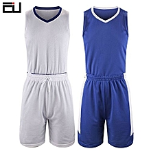 Double Size Customized Brand Men's Basketball Team Sport Jersey Set-Blue White(2093)