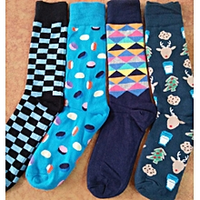 MULTI-COLOUR Men's Socks Best Fashion Happy Socks Assorted - 12 Pack (Colours May Vary)