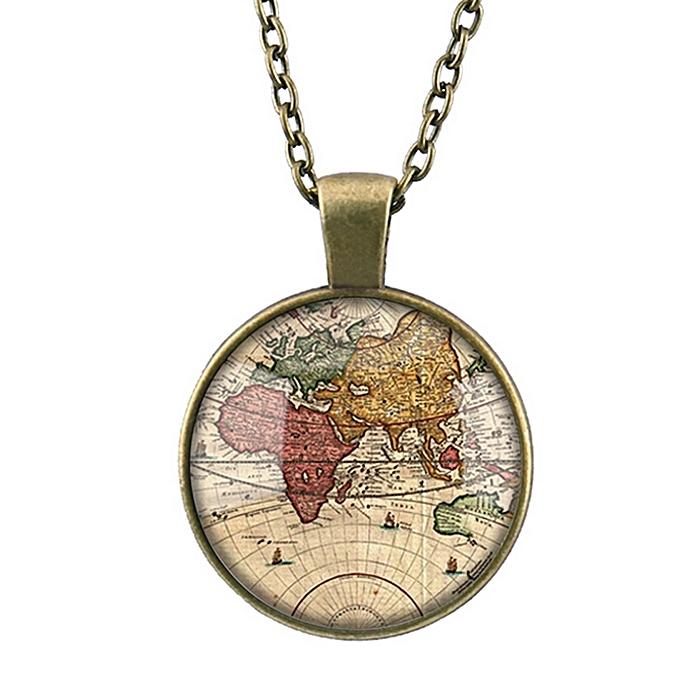 Buy fashion world map necklace vintage globe pendant world map world map necklace vintage globe pendant world map pendant teacher gift retro jewelry gemstone necklace gumiabroncs Images