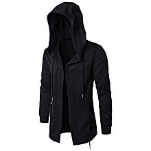 Dark men's windbreaker men's long section cloak witch cloak hooded jacket large size-black