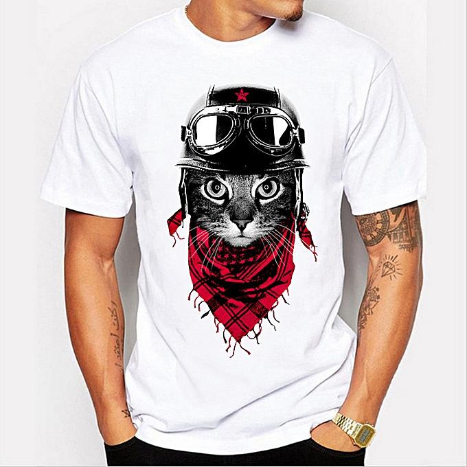 17cca16c27b Fashion Summer Fashion Cat Pattern Printed Short Sleeve Men s Trendy ...