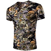 V Neck Flower Print Short Sleeves T-shirt for Men - COLORMIX