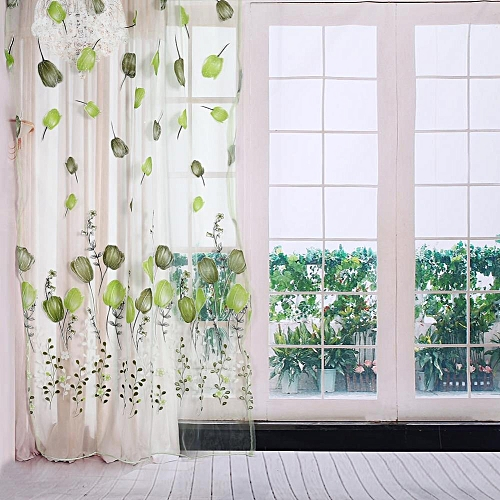 UNIVERSAL 100*200cm Tulips Printing Tulle Curtains Sheer Floral Balcony Drape Window Decoration- Green