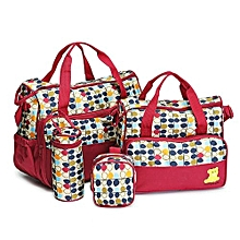 Elegant new design 5 in 1 Baby Diaper Bag Nappy Changing Pad waterproof Travel Mummy Bag-Red
